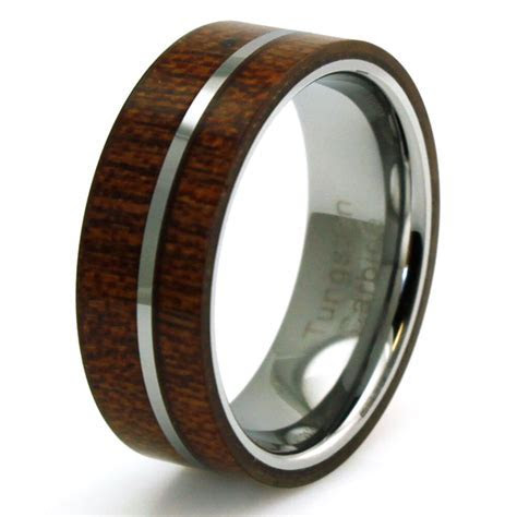 Men's Titanium Mahogany Wood Inlay Flat Wedding Band   eBay