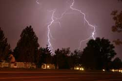 Lightning striking residential area