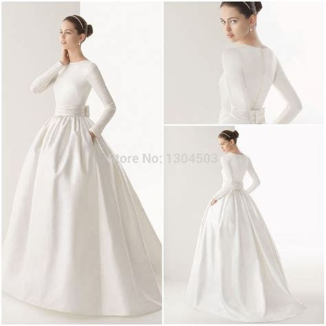 Long Sleeve Boat Neck Wedding Dress