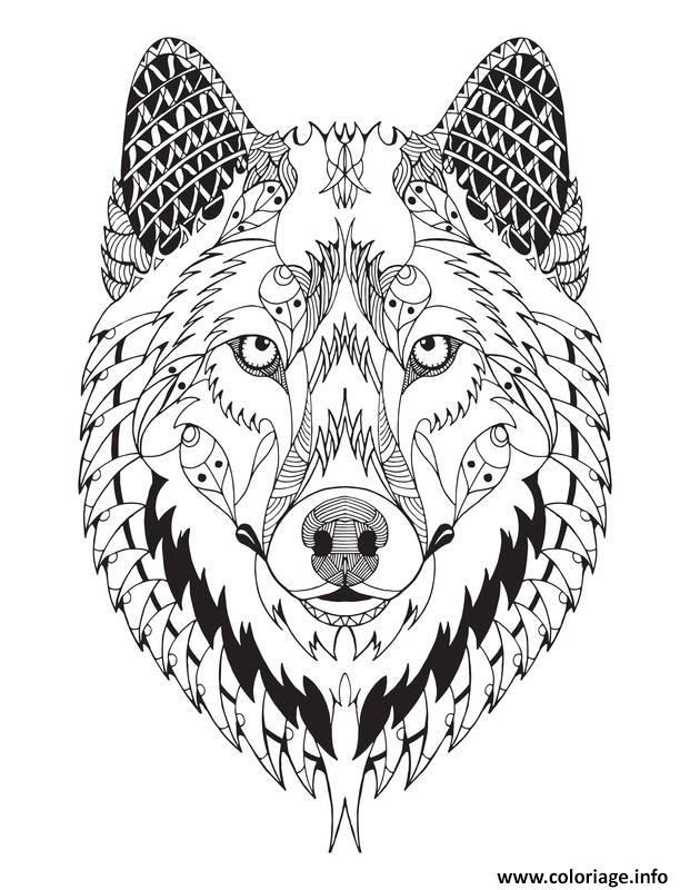 Coloriage Magnifique Loup Mandala Animal Adulte Jecoloriecom