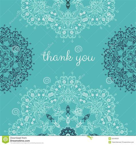 Thank You Card With Abstract Vector Ornamental Round
