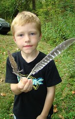 Ethan and feathers