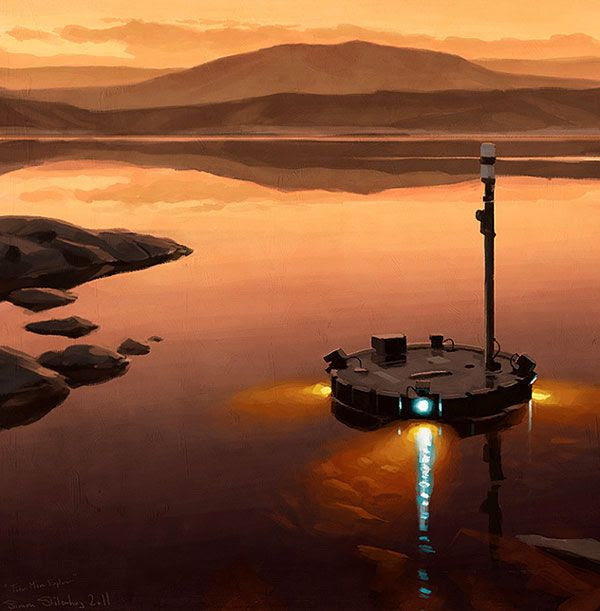 An artist's concept of the Titan Mare Explorer (TIME) floating in a lake on Saturn's moon Titan.