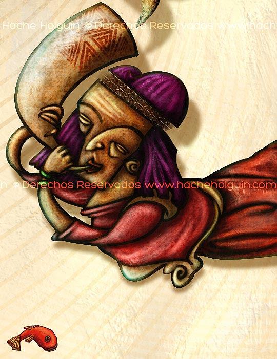 Ilustración Portadilla Chasquis, detalle por Hache Holguín
