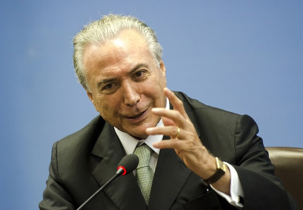 O vice-presidente da República, Michel Temer, durante entrevista coletiva no Palácio Itamaraty (Foto: Marcelo Camargo/Agência Brasil)