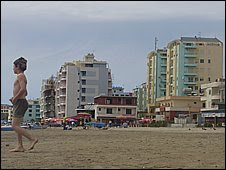 Boy on the beach at Durres, Albania