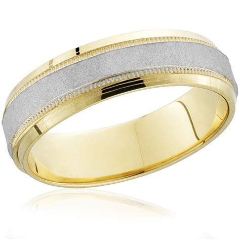 Mens Hammered Two Tone 14k White & Yellow Gold Wedding