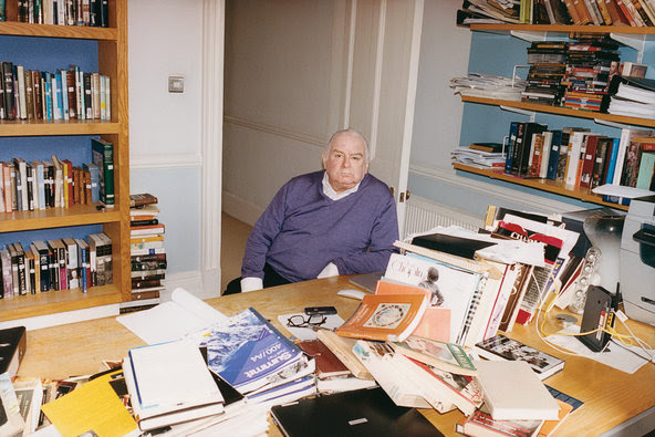 Peter Ackroyd at his desk in Bloomsbury, where he typically writes three books simultaneously.