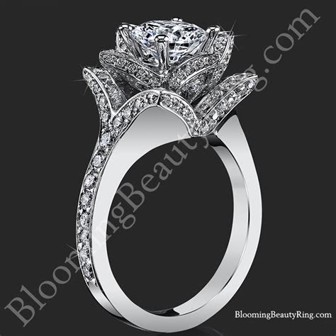 The Large Crimson Rose Flower Diamond Engagement Ring