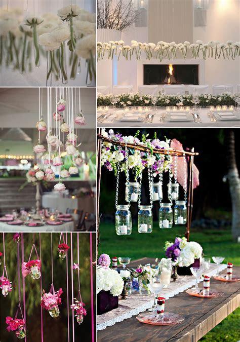 unique wedding flower ideas hanging centerpieces   OneWed.com
