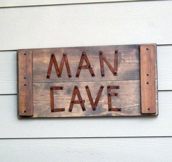 cave Cave Reclaimed rustic Sign, Rustic Masculine Sign,   sign man Rusty Metal, One  Man Wood,