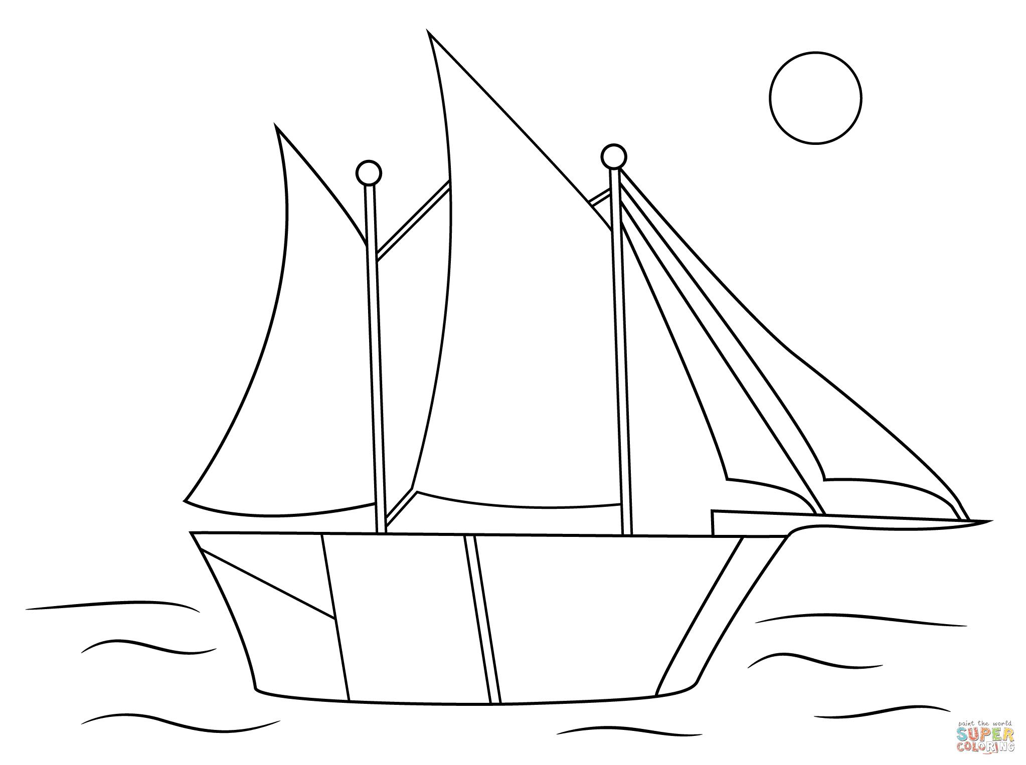Dibujo De Dibujo Aborigen De Un Barco De Vela Para Colorear