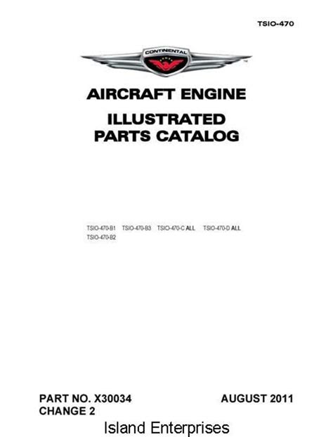 Continental Illustrated Parts Catalog TSIO-470 X30034 Engine