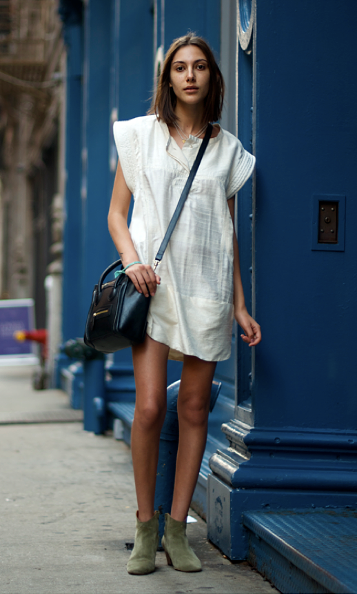 LE FASHION BLOG STREET STYLE EASY SIMPLE WHITE DRESS MINI CELINE LUGGAGE BAG CROSS BODY BLACK TAUPE KHAKI ISABEL MARANT DICKER BOOTS NYC PHOTO BY AN UNKNOWN QUANTITY BLOG