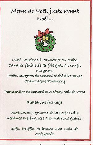 Menu Noël blog