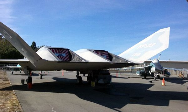 The YF-23 Gray Ghost on display (with the YF-17 Cobra visible in the background) at the Western Museum of Flight in Torrance, CA...on November 23, 2016.