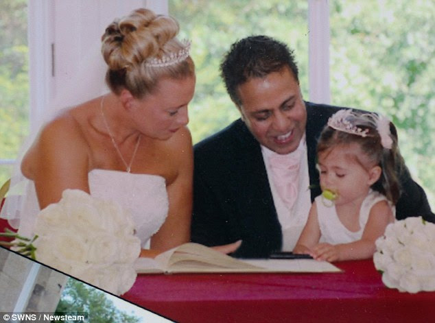 Kirsten Evans and Aman on  their wedding day with their daughter, Iman. Little did Kirsten know her husband had been living a double life for more than 20 years