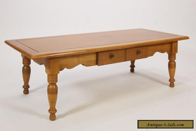 Vintage Maple Coffee Table W/ Single Drawer Colonial Style ...