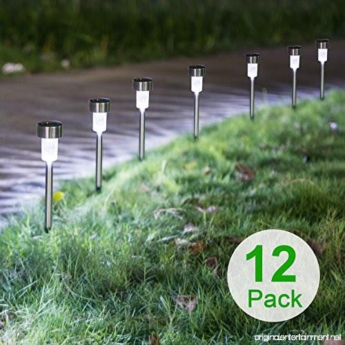 Sunnest Solar Powered Pathway Lights Solar Garden Lights Outdoor Stainless Steel Landscape