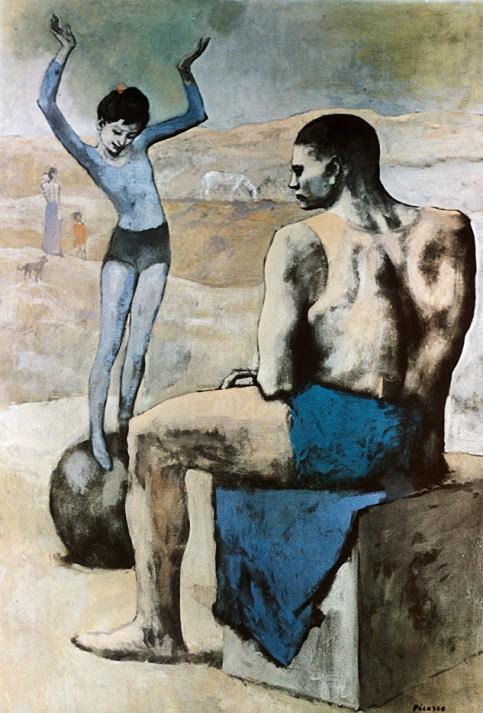 """Una de las obras más importantes del periodo rosa del artista, titulada """"La acróbata de la bola""""."""