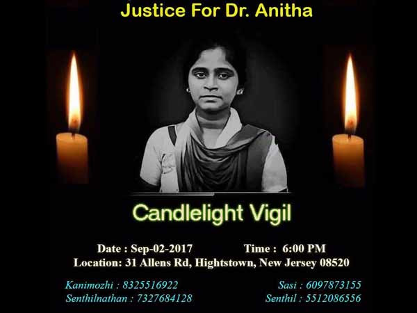 American Tamils organize candle light vigil for Anita