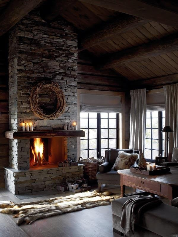 Dry stacked stone fireplace - FaveThing.
