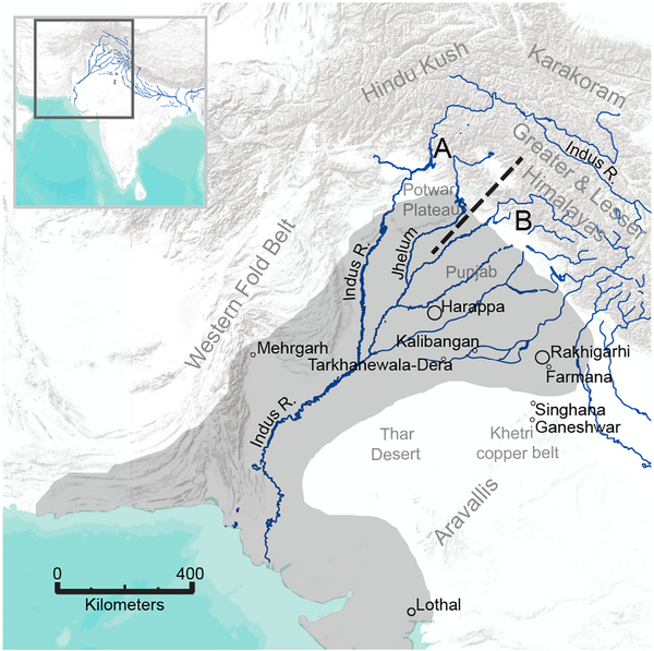 Fig 1.  Map of the Indus Civilization culture area with locations mentioned in the text.