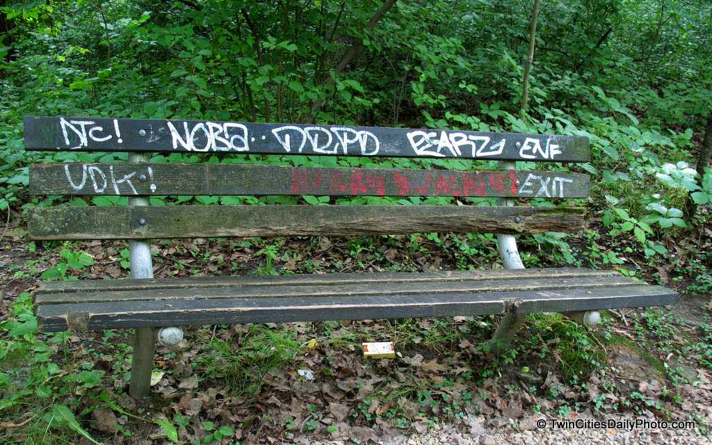 Found this graffiti weathered bench while walking along the river path at Minnehaha Falls.