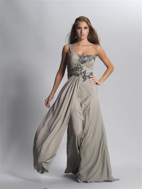 Yellow And Grey Evening Dress   Embroidery One Shoulder
