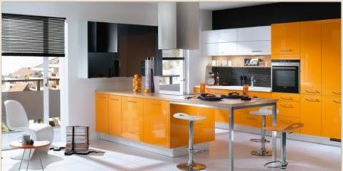 Modernas y sofisticadas cocinas en color naranja-11