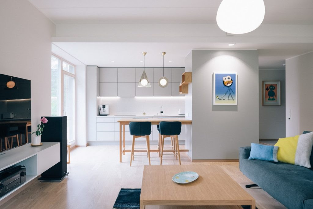 Minimalist Home With Blue And Yellow Accents