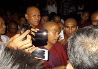 A protest by nationalist monks broke up the NLD organised literary talks in Rangoon. (PHOTO: FACEBOOK)