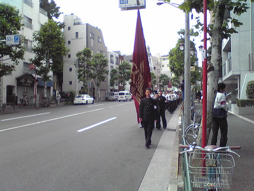 The Waseda High School parade approaching