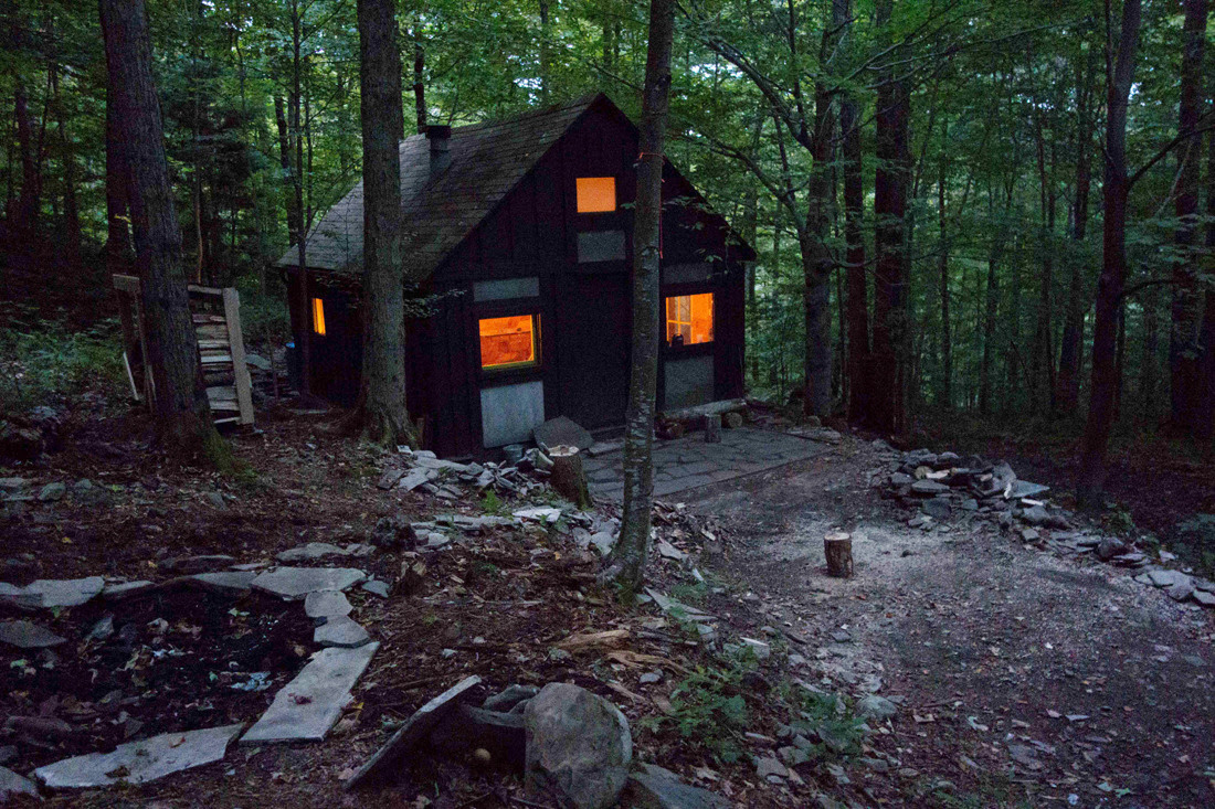 Catskills Mountain Cabin, Walton, New York Completely rebuilt by artist Mike Hein, using only hand tools and local timber milled at a small sawmill at the bottom of the mountain. The stone is from an abandoned quarry at the top of the mountain. The...