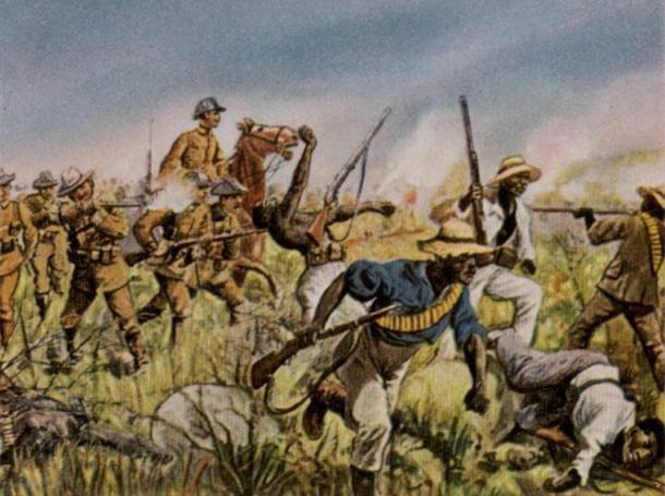 Schutztruppe alemán en combate con los herero en una pintura de Richard Knötel.