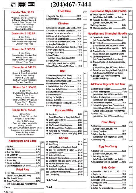 ten secrets      menu  chinese