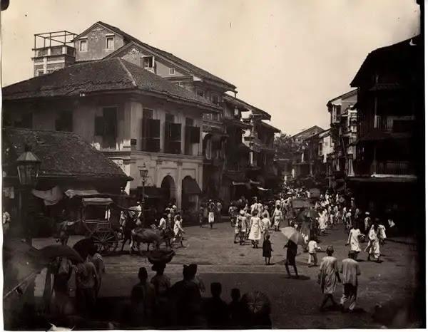Busy Street Scene in Bombay (Mumbai) - c1880's