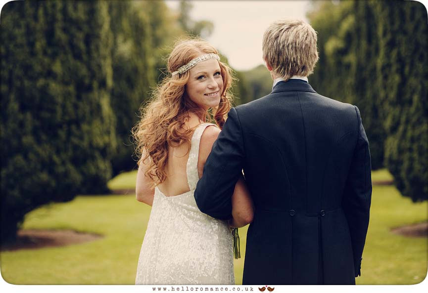 Bride Looking Over Shoulder, Beautiful Glemham Hall Wedding Photography Suffolk - Hello Romance