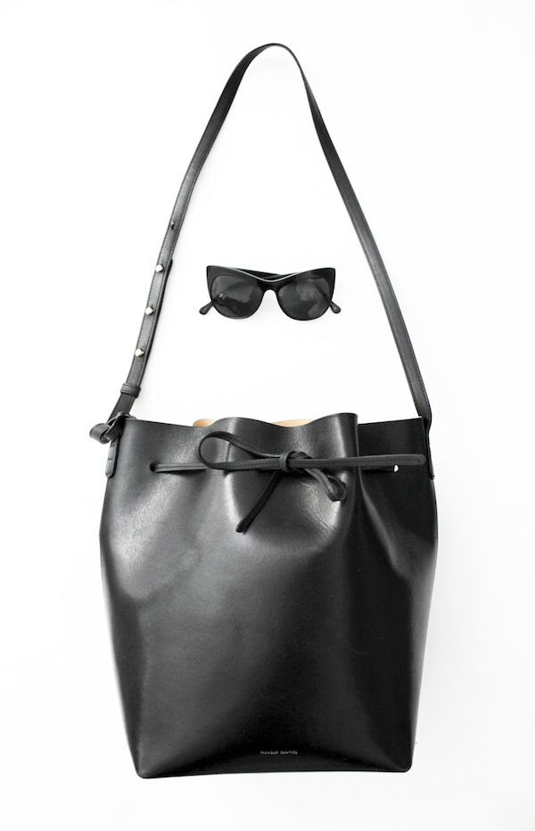 Le Fashion Blog Elizabeth James Cat Eye Sunglasses Mansur Gavriel Bucket Bag Spring Summer Accessories