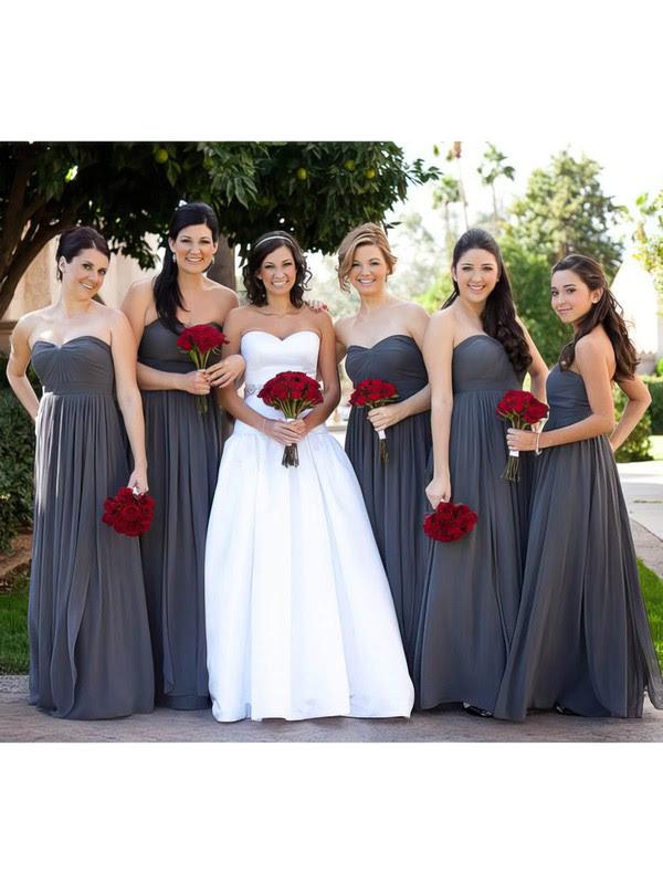 Chiffon Empire Sweetheart Floor-length  Bridesmaid Dresses #JCD01012586