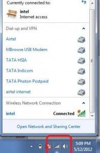 Find Network and Sharing Option in Taskbar