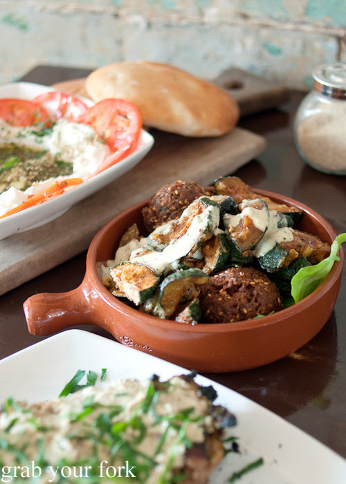 Crispy fried zucchini and falafel at Shenkin Kitchen Enmore