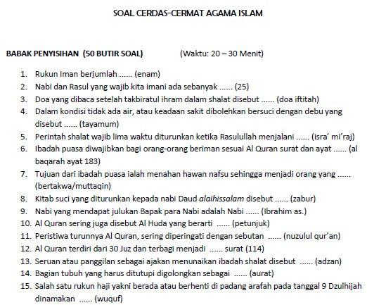 Best Soal Pilihan Ganda Agama Islam Dan Jawabannya