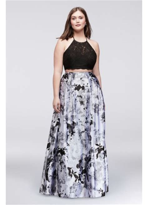 Lace Top and Printed Charmeuse Skirt Plus Size Set   David