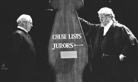 Michael Bryant, left, and Richard Pasco in Murmuring Judges, the second of the plays that went to make up David Hare's trilogy, National Theatre, 1991.