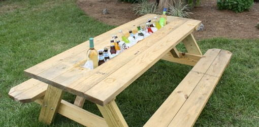 How to Make a Picnic Table Drink Trough