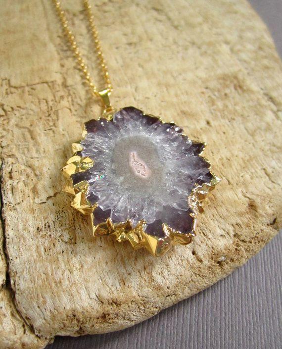 Amethyst Agate Geode Druzy Drusy Stalactite by julianneblumlo, $128.00