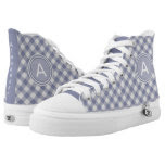 Personalize: Blue & White Gingham Check High Tops Printed Shoes