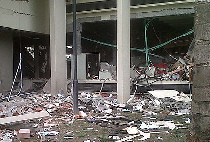 United Nations offices in Abuja, Nigeria were destroyed in a powerful explosion on August 26, 2011. The building was reportedly hit by a truck loaded with explosives. 60 or more casualties are reported, with 10 dead. by Pan-African News Wire File Photos
