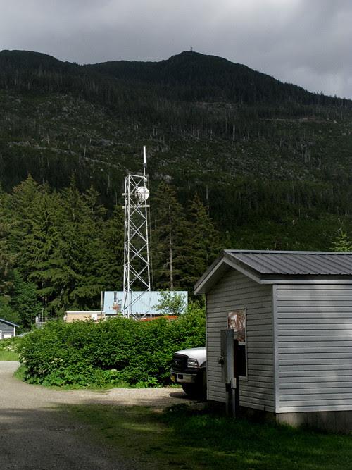 internet tower and part of OVK building, Kasaan, Alaska